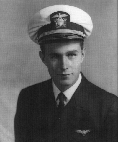 An undated file photo of Navy pilot George H. W. Bush. (U.S. Navy photo courtesy of the George Bush Presidential Library and Museum/Released)