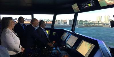 Ana Paula Vitorino, Portugal's Minister of Sea & Cmdt. Rui Cunha, APDL Port Operations and Security Director, testing the Full Mission Bridge simulator  (Photo: Wärtsilä)