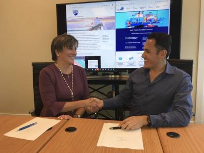Alexandra Anagnostis-Irons, President of Total Marine Solutions, with  TGM C0-founder Alejandro Trillo Menchelli (Photo: Total Marine Solutions)