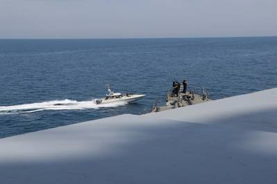 Iranian Islamic Revolutionary Guard Corps Navy (IRGCN) vessels in April approached U.S. Military ships in international waters of the North Arabian Gulf. (U.S. Navy photo)