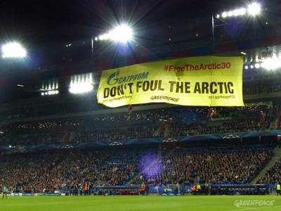 Anti-Gazprom banner at Swiss Football Stadium: Photo credit Greenpeace