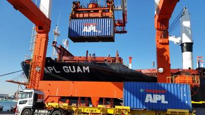 APL Guam being loaded with cargo at Yokohama before heading for Guam and Saipan Photo APL