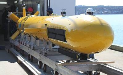 AquaPix INSAS2 system integrated into DRDC's Arctic Explorer AUV. (Photo: Kraken)