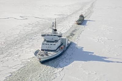 Arctia's converted polar icebreaker Otso assisting a vessel in the Bothnian Bay in March 2018 (Credit: Flying Focus and Arctia Ltd.)