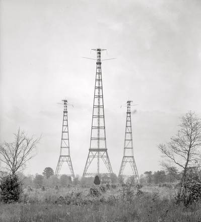 "Arlington, Va. ""Radio"" Masts for the Navy's wireless station (Harris & Ewing glass negative)"