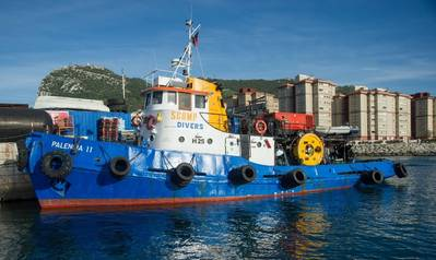 Arrival of the SCAMP Workboat Palencia II at the Gibraltar Berth after attending to a full cleaning of a 285m commercial vessel. Photo: HullWiper