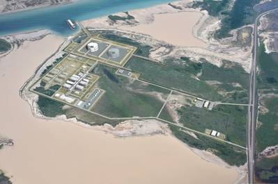 Artist impression depicting Texas LNG's planned liquefaction facilities. (Image courtesy of Texas LNG Brownsville LLC)