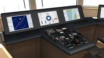 Artist Impression of a Raytheon Anschütz integrated bridge system