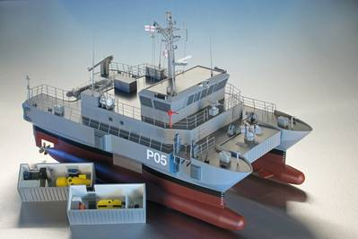 artist impression of the 25m SWATH@A&R Patrol Boat