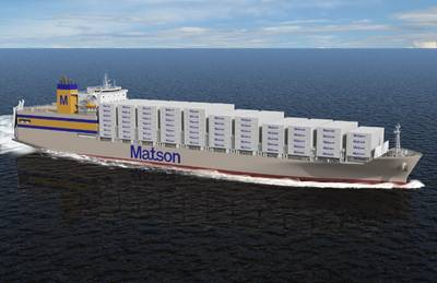 Artist rendering of Matson Kanaloa Class vessel. Courtesy General Dynamics NASSCO (Image: Matson, Inc.)