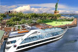 Artist rendering of the Hornblower Hydrogen Hybrid (H3) (Image courtesy Statue Cruises)