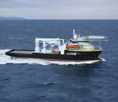 Artist rendering of the subsea support vessel BAE Systems will build for Oceaneering.