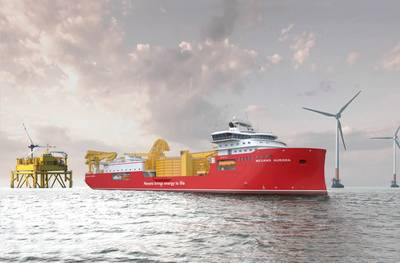 Artist's illustration of Nexans Aurora cable laying vessel at an offshore windfarm. The vessel, currently under construction, will visit Nexans' Charleston, S.C. plant, to pick up the export cables for the Seagreen project. Courtesy: Nexans