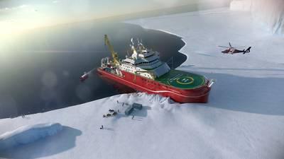 Artist's impression of the RRS Sir David Attenborough unloading supplies in Antarctica. Copyright Rolls Royce.