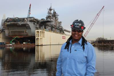 Ashley Wilber at  BAE Systems Ship Repair's Norfolk shipyard