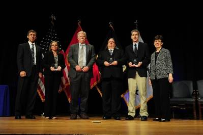 Assistant Secretary of the Navy (Research, Development & Acquisition) Sean Stackley (left), and Dr. Delores Etter (right) present the award to Ms. Pamela Posey, Dr. James Cummings, Dr. Alan Wallcraft, Mr. Joseph Metzger (left to right), NRL Oceanography Division. (Photo: U.S. Naval Research Laboratory)
