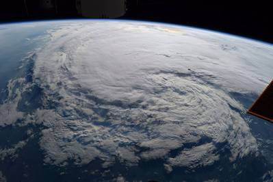 Astronaut Randy Bresnik took this photo of Tropical Storm Harvey from the International Space Station on Aug. 28 at 1:27 p.m. CDT. (Credits: NASA)
