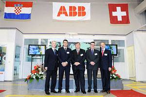 At the opening ceremony: Darko Eisenhuth, Country Manager ABB Croatia, Davor Kustic ABB Turbocharging Croatia, Vojko Obersnel, Mayor, City of Rijeka, Dr. Erich H. Pricher, Swiss Ambassador to Croatia, Oliver Riemenschneider, ABB Turbo Systems Ltd, Baden / Switzerland