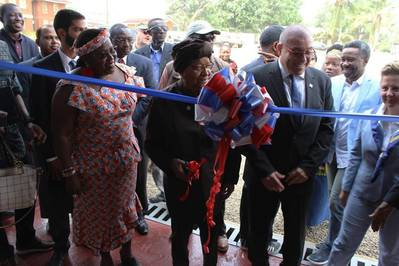 At the opening ceremony, front row, left to right: Juah Lawson, Chair of the Board of Directors of the Liberian Maritime Administration; Ellen Johnson-Sirleaf, President of Liberia; Abraham Avi Zaidenberg, managing director of LMTI; James Kollie, Liberian Maritime Administration Commissioner; and U.S. Ambassador Christine Elder (Photo: Liberian Registry)