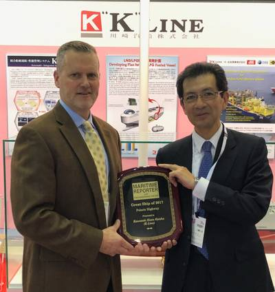 "At the Sea Japan exhibition in Tokyo, Toyohisa Nakano, (right) Executive Officer, K Line, accepts a ""Great Ship of 2017"" award from Maritime Reporter & Engineering News Editor and Associate Publisher Greg Trauthwein. (Photo: Rob Howard)"