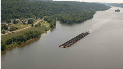 Barge on the Ohio river