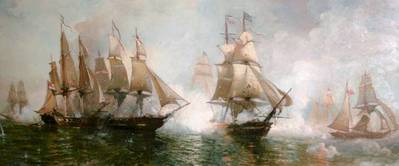 Battle of Lake Erie: Painting reproduced courtesy of Miller Boat Line