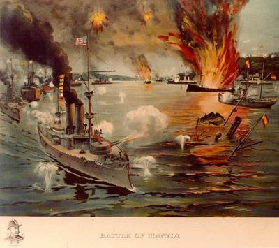 Battle of Manila Bay, 1 May 1898. Contemporary colored print showing USS Olympia in the left foreground, leading the U.S. Asiatic Squadron in destroying the Spanish fleet off Cavite. A vignette portrait of Rear Admiral George Dewey is featured in the lower left. (U.S. Naval History & Heritage Command Photograph)