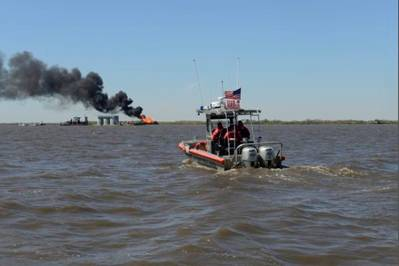 Bayou Perot Pipeline Blaze: Photo credit USCG