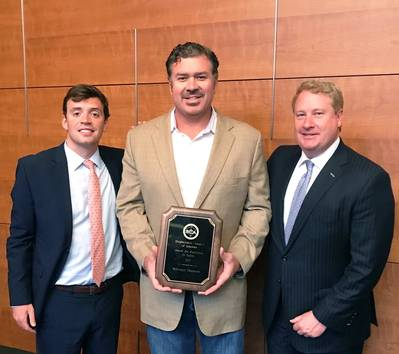 Ben Bordelon, Bollinger President and CEO, accepting the SCA award from Davis Gaddy, SCA Government Relations Coordinator (left) and Matthew Paxton, SCA President (right). (Photo: Bollinger Shipyards)
