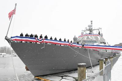 Blue crew of the freedom variant littoral combat ship USS Little Rock (LCS 9) man the rails during the ship's commissioning ceremony Dec. 16, 2017 in Buffalo, N.Y. (U.S. Navy photo courtesy of Lockheed Martin)