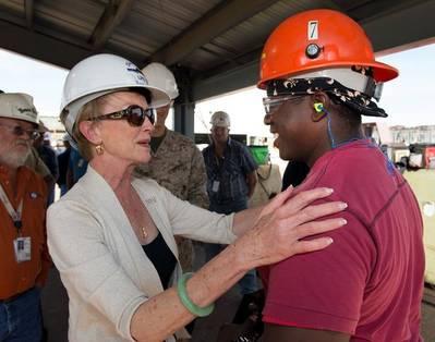 Bonnie Amos & Ingalls' shipyard employee: Photo courtesy of HII