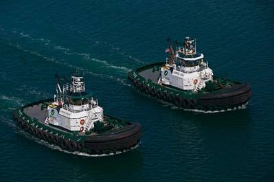 Both hybrid tugs the Carolyn Foss and Campbell Foss achieved five or more years of safe operations. (Image courtesy of Foss Maritime)