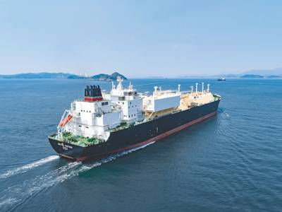 BP Shipping took delivery of British Partner, the first of a half dozen new 173,400 cu. m. capacity liquefied natural gas (LNG) carriers to be delivered through 2018 and 2019 from the DSME shipyard in South Korea. (Photo: BP Shipping)