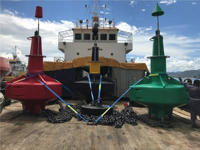Buoys loaded and ready for installation Courtesy  AMSA