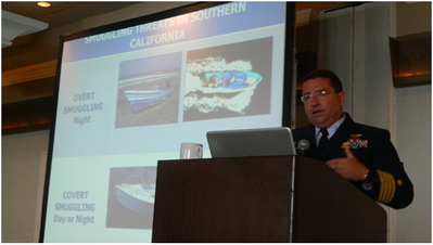 Capt. Jonathan Spaner, USCG, commander Sector San Diego, was a keynote speaker at Maritime Security 2015 West. (Photo by Will Lusk)