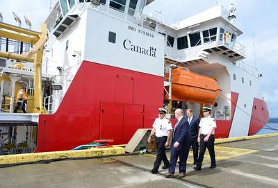 CEO Mark Lamarre and CPO John McCarthy of Seaspan Shipyards with Canadian Coast Guard officials. Photo: Seaspan