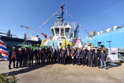 Ceremonial launch of Sanmar's Bogaçay38 tug (Photo: Caterpillar Marine)