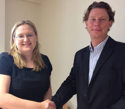 Charlotte Mott, managing director of Hydro-Lek, and Jon Robertson, managing director of Saab Seaeye