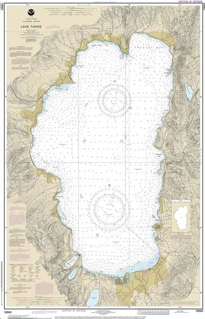 Chart 18665 of Lake Tahoe is the first traditional paper chart to be fully supplanted by an electronic navigational chart as part of NOAA's Office of Coast Survey Raster Sunset Plan. (Image: NOAA)