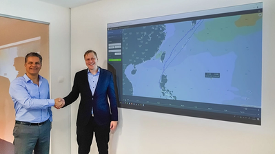 ChartWorld's Oliver Schwarz and NAPA's Risto Kariranta are excited to start collaboration in providing AI-driven voyage planning and optimization. (Photo: ChartWorld)