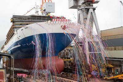 "Christening and Launch Ceremony of ""FERRY KYOTO"". Photo courtesy Mitsubishi Shipbuilding Co., Ltd."