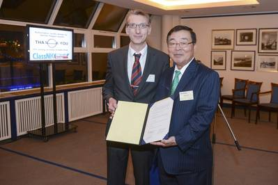 ClassNK Chairman and President Mr. Ueda (right) with Mr. Krüger, BG Verkehr (left)