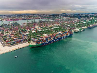 CMA CGM Jacques Saade left Singapore carrying a record 20,723 full containers. (Photo: CMA CGM)