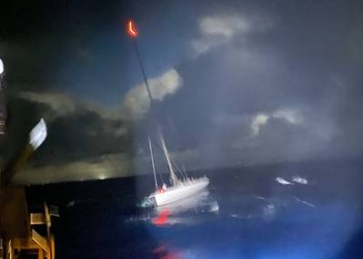 Coast Guard crews rescued 15 mariners aboard the disabled 72-foot sailing vessel Lucky, 26-miles east of Makapu'u Point, Oahu, July 24, 2021. The Lucky was adrift due to a disabled rudder and crews aboard the Coast Guard Cutter Oliver Berry (WPC 1124) and a Station Honolulu 45-foot Response Boat-Medium successfully towed the vessel to Honolulu Harbor. (U.S. Coast Guard photo courtesy of the Coast Guard Cutter Oliver Berry/Released)