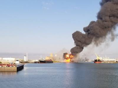 Coast Guard crews respond to a dredge on fire in the Port of Corpus Christi Ship Channel, August 21, 2020. (U.S. Coast Guard photo)