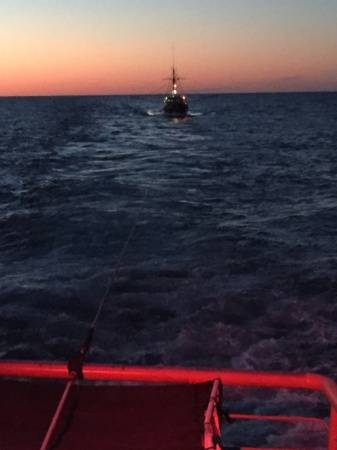 Coast Guard Cutter Moray tows the fishing boat Paulo Marc after it became disabled east of Portland, Maine (USCG photo)