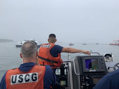 Coast Guard Station Point Allerton crew members respond during the grounding of the ferry Lightening in Boston Harbor, Friday, Aug. 16, 2019. (U.S. Coast Guard photo by Station Point Allerton)