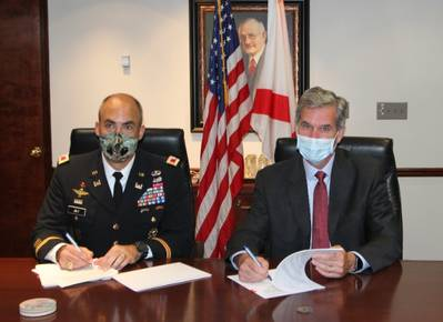 Col. Sebastien Joly and John Driscoll sign project agreement to take the Port of Mobile to 50 ft. draft (Photo: Alabama Port Authority)