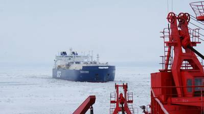 Commissioned in 2017, Christophe de Margerie is the world's first icebreaking LNG carrier and the lead ship in the series of ice class Arc7 vessels with a cargo capacity of 172,600 cubic meters each, purpose designed for serving the Yamal LNG project year-round in the Russian Arctic. (Photo: Sovcomflot)
