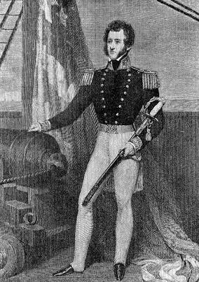 Commodore Robert F. Stockton, Halftone reproduction of a 19th Century engraving, printed by Carruth & Carruth, Oakland, California, for the Sloat Memorial Association of Oakland. The original engraving was based on a painting on ivory owned by Commodore Stockton's son, the Hon. John P. Stockton. ( U.S. Naval Historical Center Photograph.)